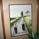 "SALE! Jan Danov Original Amish Watercolor FRAMED ""Following In His Footsteps"""