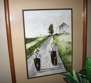 "SALE! Jan Danov Original Amish Watercolor FRAMED ""Following In His Footsteps"""