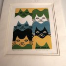 "Mike Segal 2002 Signed/Numbered Matted Print ""FIVE CATS""  FREE SHIPPING"