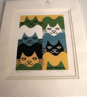 """Mike Segal 2002 Signed/Numbered Matted Print """"FIVE CATS""""  FREE SHIPPING"""