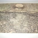 Vintage Black/White 1968 Bali Print IB Nyoman Rai Gunung Agung NEKA FREE SHIP