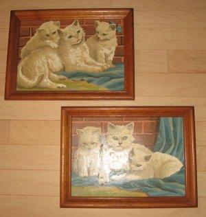 "2 Vintage Oak Framed Paint By Number Oils ""Fluffy Kittens Cats"""