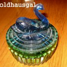 Blue Green Vintage Glass Trinket Box Jewlery Swan