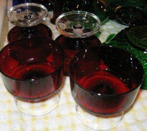 4 Red Glass Sherbet Dessert Dishes FRANCE