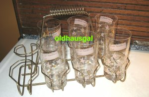 SALE! Vintage High Ball Glasses PLUS Carrier