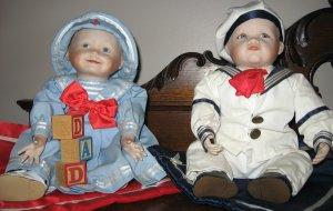 "Ashton Drake YOLANDA'S PERFECT BABIES ""Amanda"" & ""Matthew"" Porcelain Collectible Dolls"