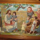 Vintage 1960s FRAMED Paint By Number Jesus The Storyteller Religious