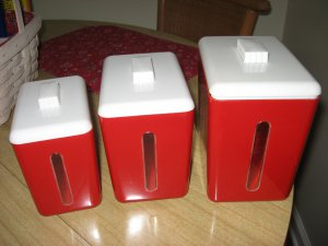 Vintage Nu-Dell Plastics Red White Canister Set