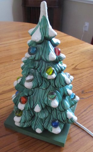 RARE Vintage Green Ceramic Christmas Tree with Snow & Glass Marbles with Wooden Stand