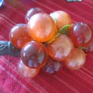 Vintage 1960s Acrylic Lucite Grape Clusters Olive Orange