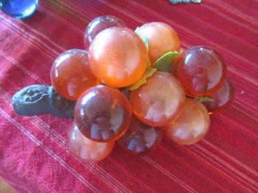 Vintage 1960s Acrylic Lucite Grape Clusters Olive Orange