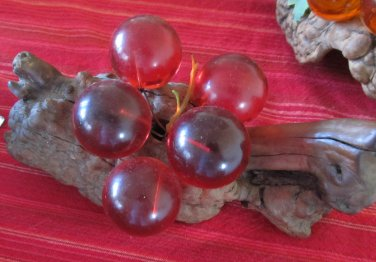 Vintage 1960s Acrylic Lucite Grape Clusters on Burl Wood Red