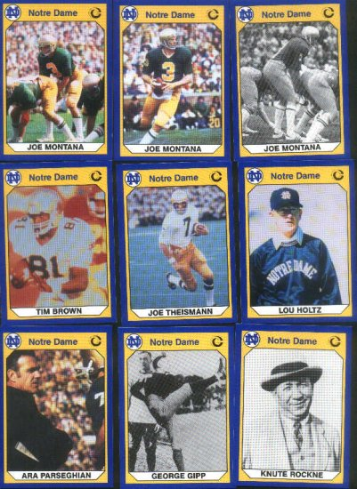 1990 Notre Dame 200 card set with 3 Montana cards
