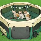 "X-Large 59"" Green/Beige Pet Dog Playpen Tent House Bed"