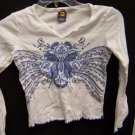 Girls Size Medium 10/12 White Long Sleeve Shirt With a Blue Butterfly