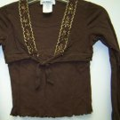 Girls Size 10/12 Brown Long Sleeve Shirt