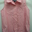 Girls Size 7 Lands End Pink and White Striped Sleeveless Blouse
