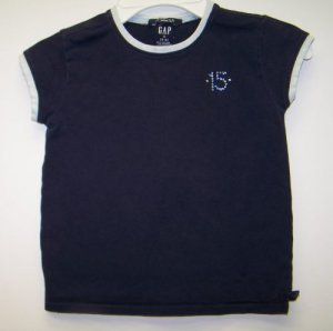 Girls Size 5-6 GAP Short Sleeve Blue Shirt