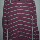 Woman's Junior American Eagle Large Long Sleeved Striped Shirt