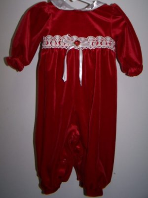 Infant Girl Red Velvet One Piece Outfit 6-9 month