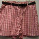 NEW Lee Red Plaid Shorts W/Belt Size 10 Medium