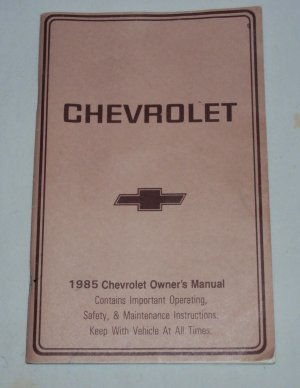 1985 Chevrolet Owner�s Manual