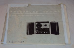 Vintage Sony TC-500A Tape Recorder Owner�s Instruction
