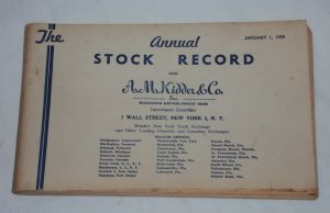 Vintage AM Kidder Annual Stock Report � 1959