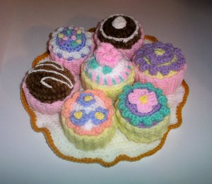 Boutique Crochet - Cupcakes and Tray Crocheted by Thread Artist Shelby
