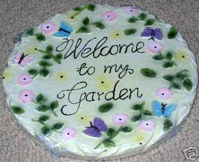 Butterflies Pink Purple Welcome Garden Stepping Stone
