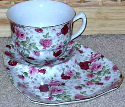 Tiny Roses Tea Cup and Snack Saucer