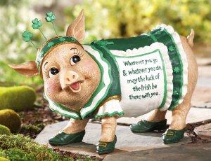 St. Patty Piggy Irish Blessing Garden Statue