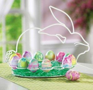 Easter Bunny Shaped Metal Egg Display Holder