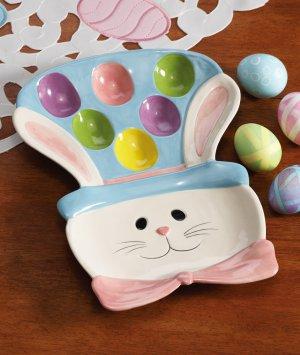 Easter Egg Bunny Ceramic Serving Platter