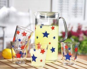 Patriotic Stars Beverage Pitcher & Glasses Set