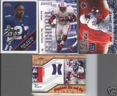 Ron Dayne 2000 Rookie LOT (3) + '02 Jersey Card
