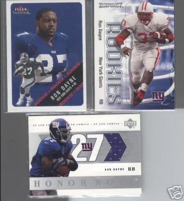 Ron Dayne 2000 Rookie LOT (2) + '04 Jersey Card