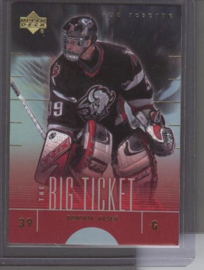 Dominik Hasek 01 UD Reserve Big Ticket Card