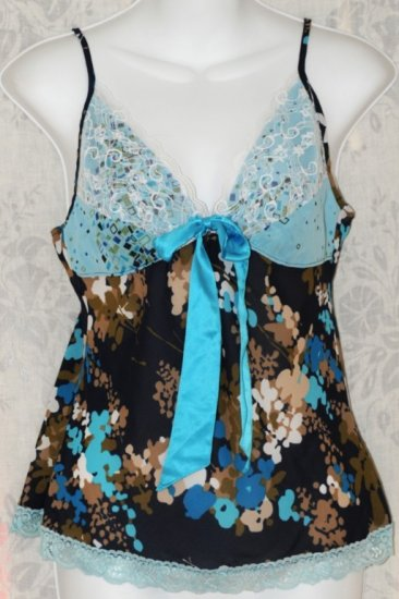 Meghan Noland Blue Cami Lace Flowers Top Shirt - Brand New With Tags size Large