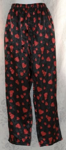 Intimo Black with Red Hearts Lounge Pajama Pants size XL