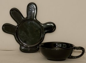 Disney Mickey Mouse Black Hand Plate and Cup
