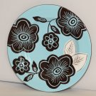 Laurie Gates Ware Blue Brown Floral Round Salad Luncheon Plate Used