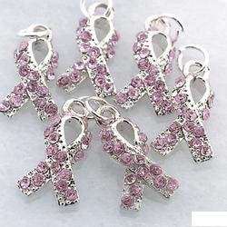 6 BREAST CANCER AWARENESS RHINESTONE CHARMS (NEW)