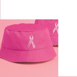 BREAST CANCER AWARENESS Pink Ribbon Embroidered Bucket Hat (NEW)