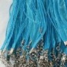 Lot of 10 Ribbon Cord Necklaces Turquoise Blue