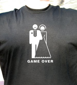 Funny Game over T shirt tee wedding just married happy bride unhappy groom