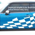 Wavy checkered flag graphics decals decal Mini Cooper