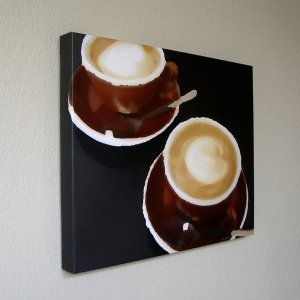 Flat Whites - Stylized Photo Coffee Cups 16 x 20 in. Gallery Wrap Canvas Print