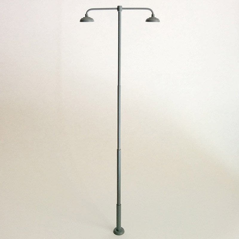 Rail Yard Lamp / Light 2-Head for Large / G-Scale Model Train Layouts - Gray