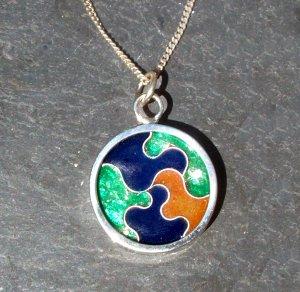 Wave Cloisonne Enamel Pendant - Argentium Sterling Silver